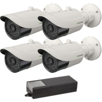 4 HD security camera package with coax cables and power supply
